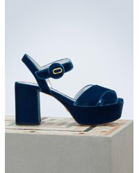 Prada - Velvet Platform Sandals - Lyst