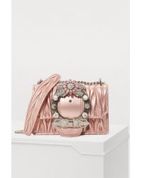 38726cc47a93c Miu Miu Embellished Miu Lady Bag in Pink - Lyst