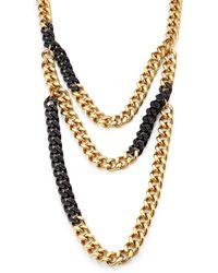 Michael Kors PavÉ Two-Tone Multi-Row Chain Necklace - Lyst
