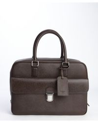 Giorgio Armani Moro Brown Leather Front Pocket Top Handle Briefcase - Lyst