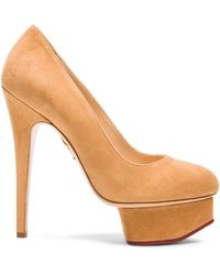 Charlotte Olympia Suede Sundance Dolly Pumps - Lyst