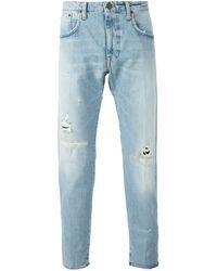 People Distressed Straight Leg Jeans - Lyst