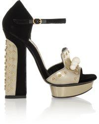 Alexander McQueen Embellished Velvet and Metallic Leather Sandals - Lyst