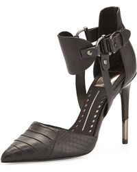 Dolce Vita Knoxx Leather and Snakeskin Ankle-wrap Pump - Lyst