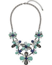 Topshop Green Stone Flower Collar - Lyst