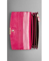 Burberry Embossed Check Leather Continental Wallet - Lyst