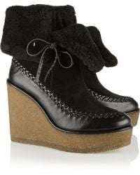 Coach Shearlinglined Suede and Leather Wedge Ankle Boots - Lyst