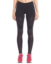 Alo Yoga Athena Quilted-Panel Performance Leggings black - Lyst
