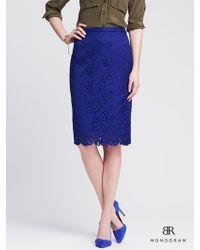 Banana Republic Br Monogram Cutout Lace Pencil Skirt - Lyst