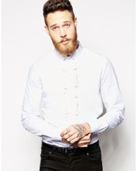 Asos Smart Shirt in Long Sleeve with Ruffle Bib - Lyst
