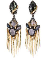 Alexis Bittar Multi-stone Mixed Metal Dangle Clip Earrings - Lyst