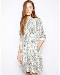 Chinti And Parker Chinti Parker Printed Button Through Dress in Big Tooth Print - Lyst