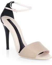 Narciso Rodriguez Lizard-embossed Leather Ankle-strap Sandals - Lyst