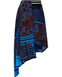 Preen Printed Silk Turkana Skirt in Cobalt Flower Scarf - Lyst