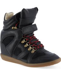 Isabel Marant Buck Suede and Leather Wedge Trainers Black - Lyst