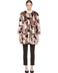 Nina Ricci Pink Patchwork Fur Reversible Coat - Lyst