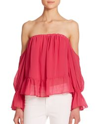 070cc0e4152f3 T-bags - Off-the-shoulder Ruffled Long-sleeve Blouse - Lyst