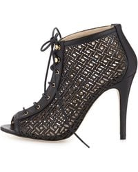 Etienne Aigner - Perforated Lace-up Bootie - Lyst