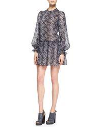 Michael Kors Python-Print Drop-Waist Dress - Lyst