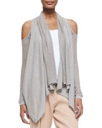Donna Karan New York Cashmere Cold-shoulder Cardigan - Lyst