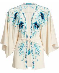 Matthew Williamson Tropical Flower Embroidered Silk Kimono - Lyst
