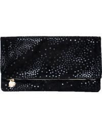 Clare Vivier Foldover Clutch In Black Suede With Black Stars - Lyst