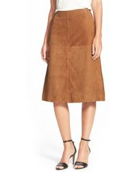 Halogen - Suede A-line Skirt - Lyst