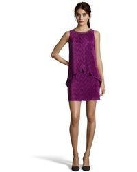Laundry by Shelli Segal Violet Mist Stretch Pleated Pop-Over Embellished Shift Dress - Lyst