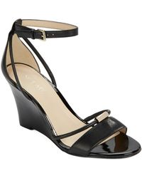 Nine West Fastness Leather Wedge Sandals - Lyst
