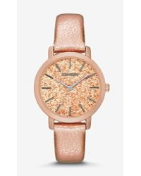 Express Sparkle Dial Rose Gold Leather Strap Watch