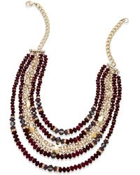 Inc International Concepts Goldtone Mixed Purple Bead Frontal Necklace - Lyst