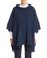 Piazza Sempione Goat Fur-Trimmed Knit Poncho blue - Lyst