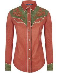Ralph Lauren Blue Label Glorieta Leather Western Shirt - Lyst