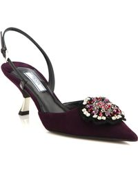 Prada Suede & Patent Leather Buckle Slingback Pumps purple - Lyst