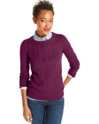 Tommy Hilfiger Cable-Knit Crew-Neck Sweater - Lyst