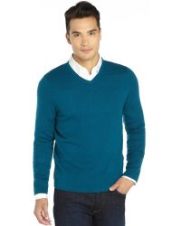 Elie Tahari Caspian Blue Cashmere Knit Austin Vneck Sweater - Lyst