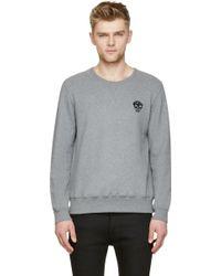 Alexander McQueen Grey Sequinned Skull Sweatshirt - Lyst
