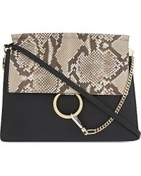 Chloé Faye Medium Python-Leather Over The Shoulder Handbag - Lyst