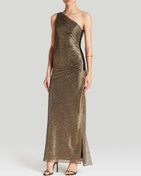 Laundry by Shelli Segal Gown - One Shoulder Metallic Foil Knit gold - Lyst