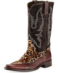 Donald J Pliner Jwest Mixed-media Western Boot - Lyst
