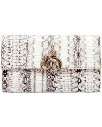 Roberto Cavalli Snake Embellished Elaphe Clutch white - Lyst