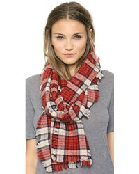 Madewell Cafe Plaid Scarf  Heather Stone - Lyst