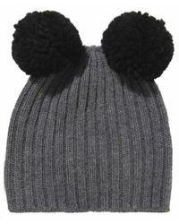 Helene Berman Double Knit Pom Pom Hat - Lyst