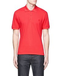 Alexander McQueen   Stud Button Organic Cotton Polo Shirt   Lyst