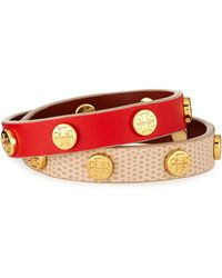 Tory Burch Double-Wrap Leather Logo Stud Bracelet - Lyst