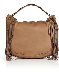 852913cefd1c Ralph Lauren Collection - Leather Whipstitch Hobo with Fringe Trim - Lyst