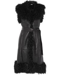 Miu Miu Sleeveless Shearling and Leather Coat - Lyst