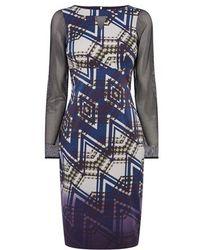 Karen Millen Zig Zag Print Dress - Lyst
