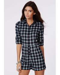 Missguided Hailey Checked Shirt Playsuit Navy - Lyst