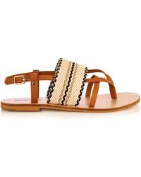 See By Chloé Kenna Leather And Woven-Cotton Sandals - Lyst